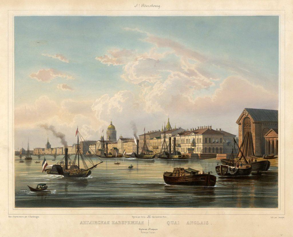 Английская набережная Петербурга гравюра