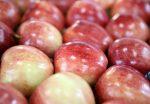Спелые красные яблоки - фрукты на прилавке в магазине
