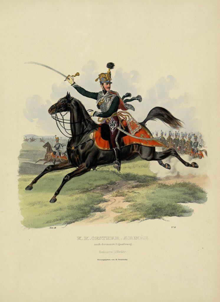 Офицер гусар австрийской армии, гравюра 19 века