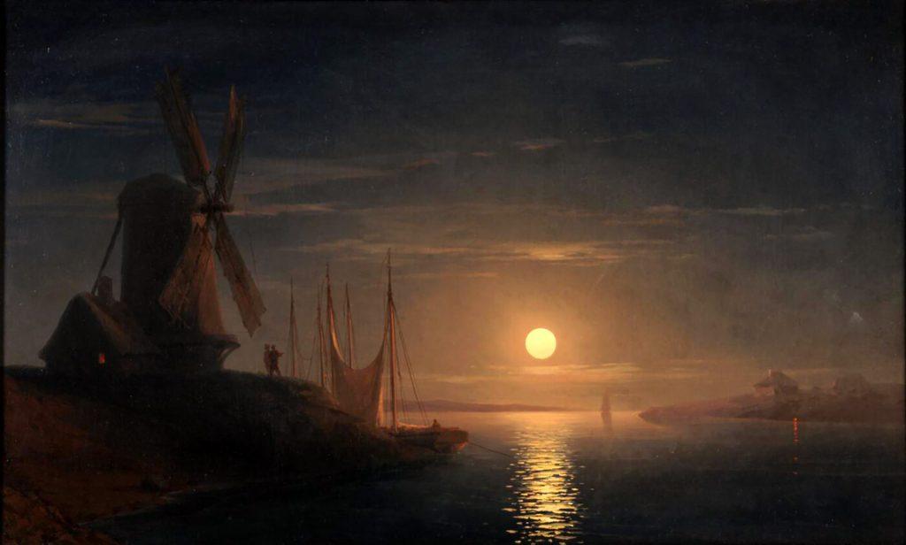 Иван Айвазовский - картина Днепра 1858 года - Лунный свет над Днепром