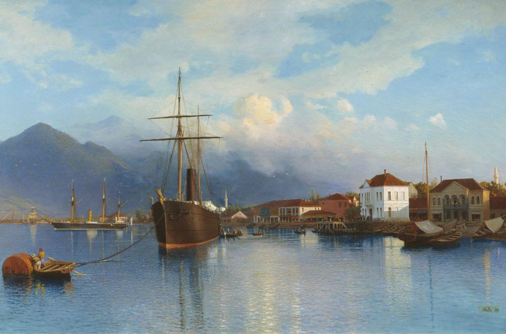 Лагорио - порт города Батуми в Грузии, картина 19 века