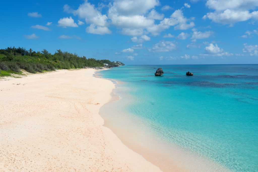 Бермуды, Бермудские острова - пляж с розовым песком