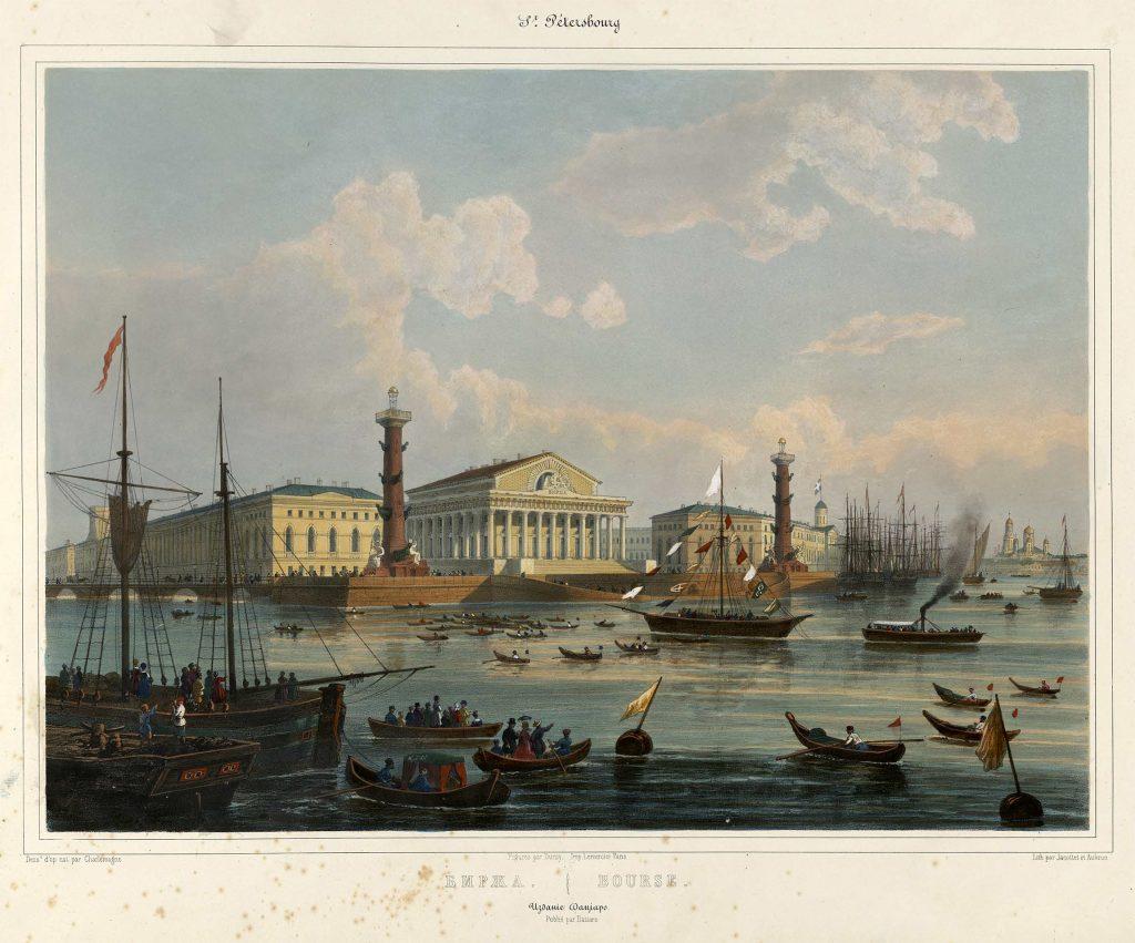 Биржа Петербурга гравюра 19 век