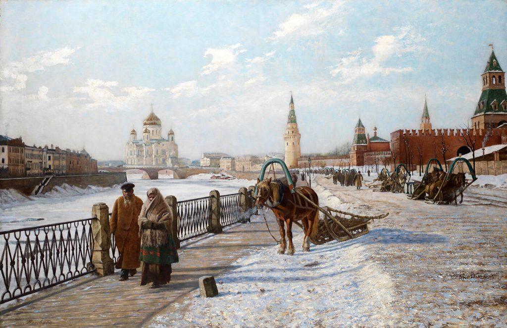 Картина Москвы Поль Луи Бушара: Вид Московского Кремля и Храма Христа Спасителя