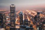 Стоковое фото небоскребов ночного города