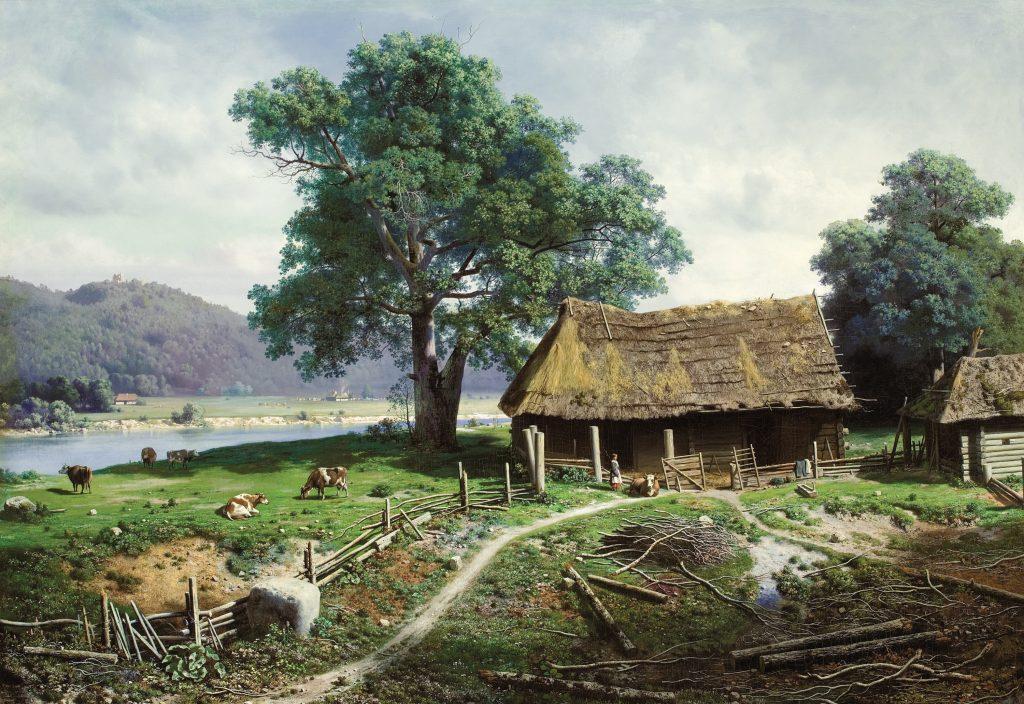 Художник Михаил Клодт, картина Вид в имении Загезаль близ города Рига, Латвия. 19 век