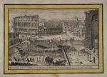 Гравюра Колизей и Арка Константина, город Рим
