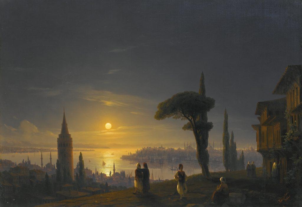 Айвазовский - Галатская башня в лунную ночь, картина Стамбула