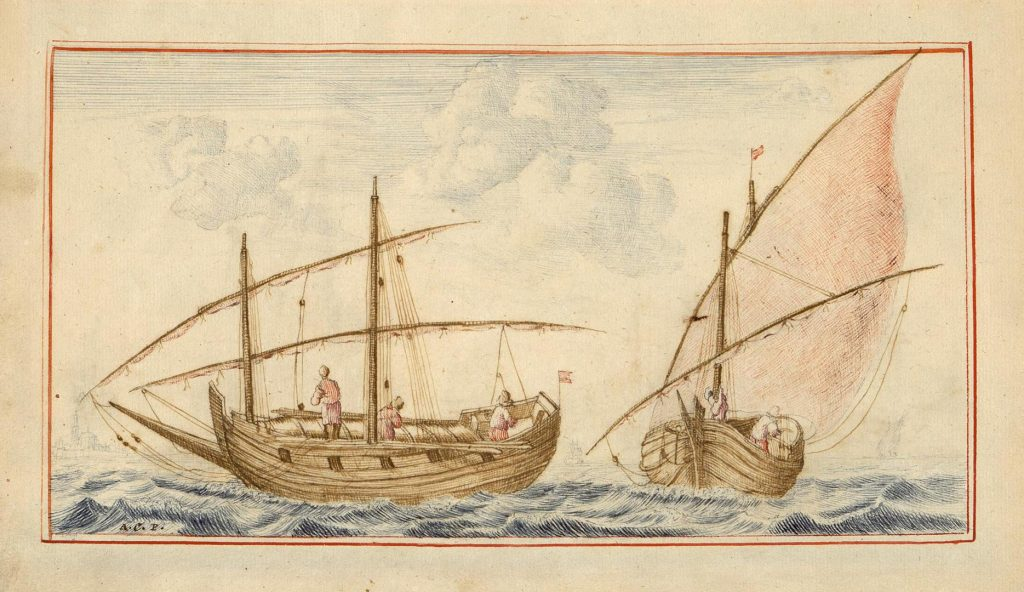 Гравюра Два бота, морская тематика, 18 век