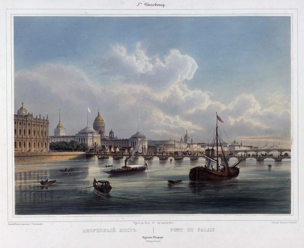 Дворцовый мост Петербурга в 19 веке