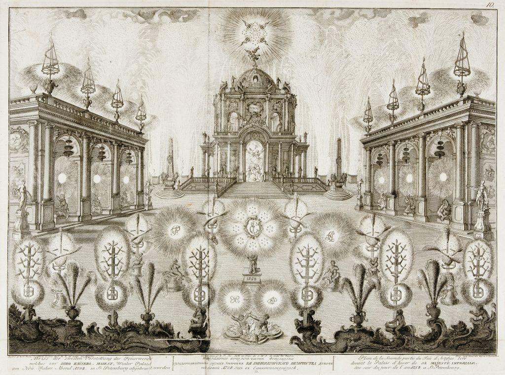 Петербург, Новогодний фейерверк, гравюра 18 века