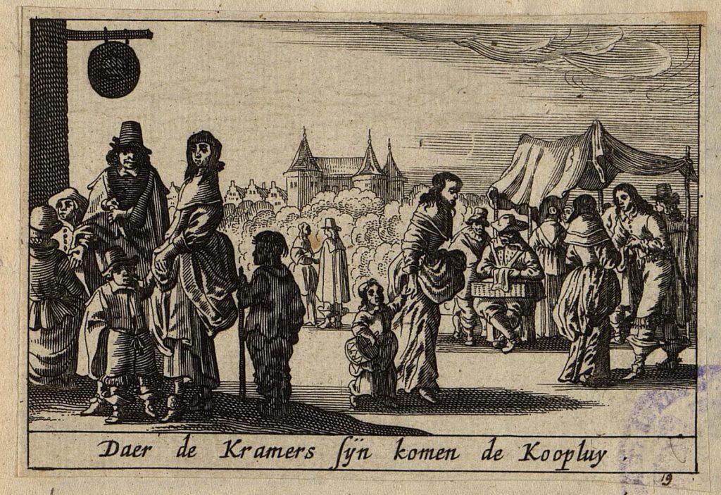 Гравюра 17 века Возле рыночных палаток фигуры солдат