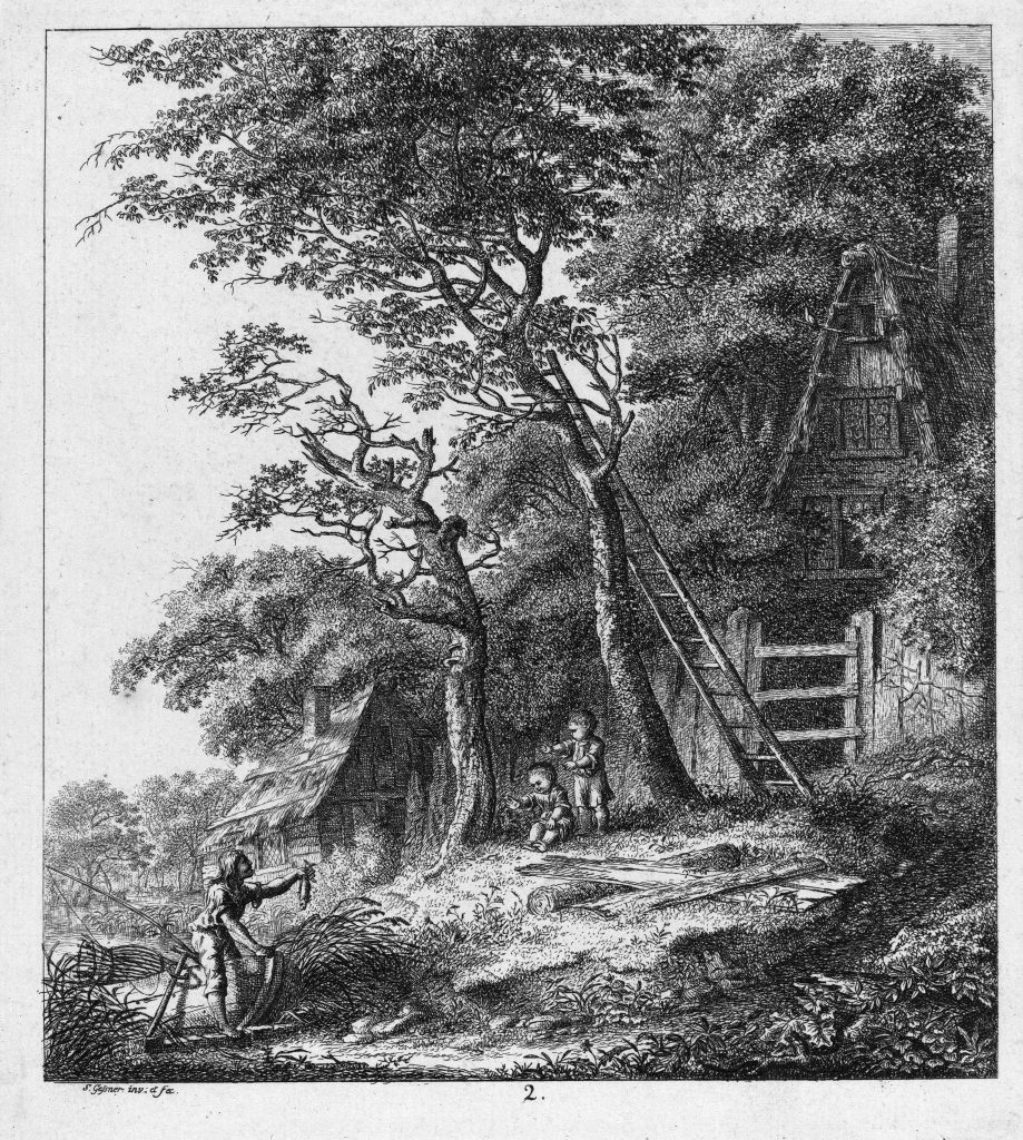 Гесснер Соломон - Рыбак и двое детей, гравюра