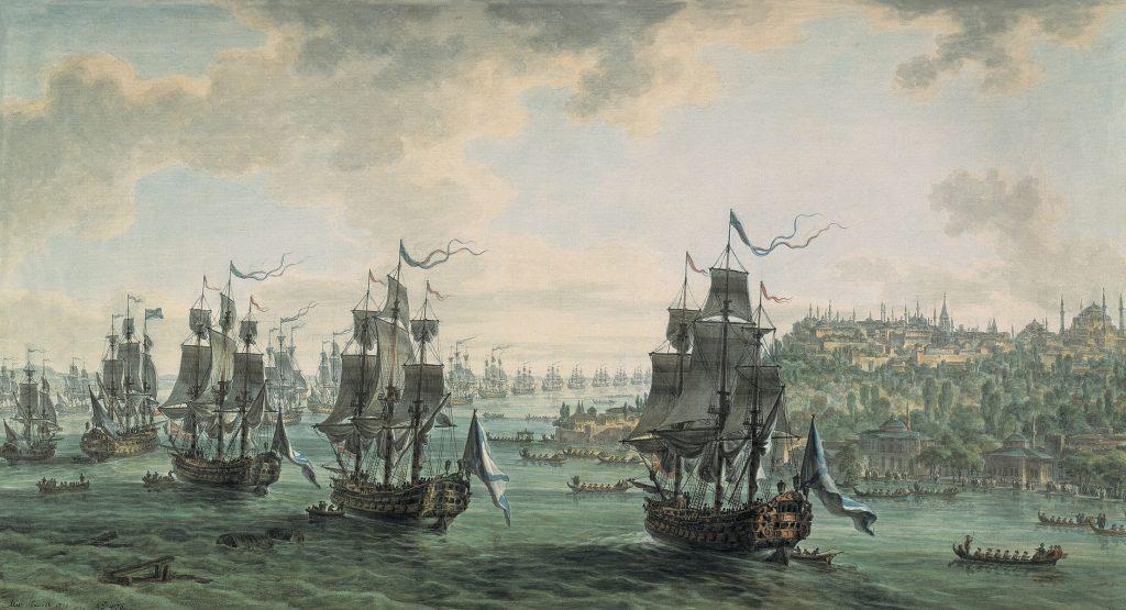 Картина Иванова - Российская эскадра под командованием Ушакова, идущая Константинопольским проливом