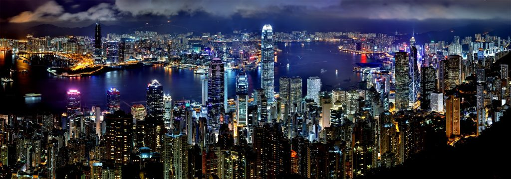 Ночной Гонконг панорама