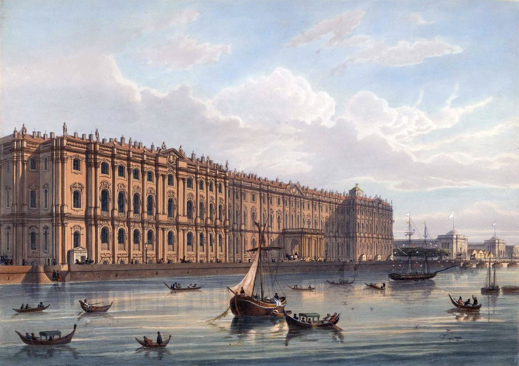 Зимний дворец - гравюра 19 века