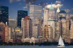 Нью-Йорк - река Гудзон и небоскребы