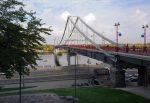 Пешеходный мост через Днепр и Набережное шоссе в Киеве