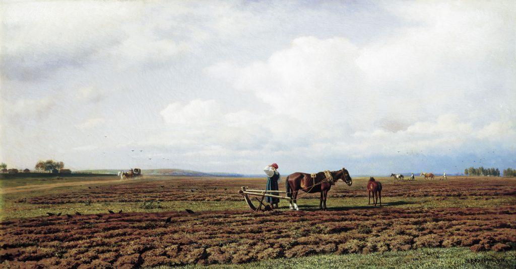 Художник Михаил Клодт, картина На пашне 1872 года. Поле, посевная