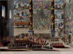 Гравюра, коронация императрицы Елизаветы, Успенский собор, Московский Кремль