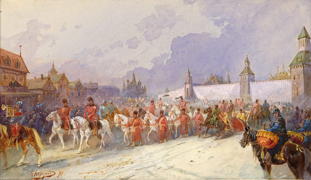 Картина Въезд пленного кучумова семейства в Москву, 1599 год