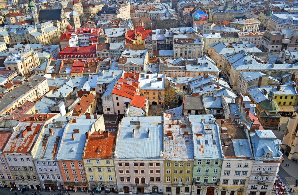Крыши центра Львова - Рыночная площадь