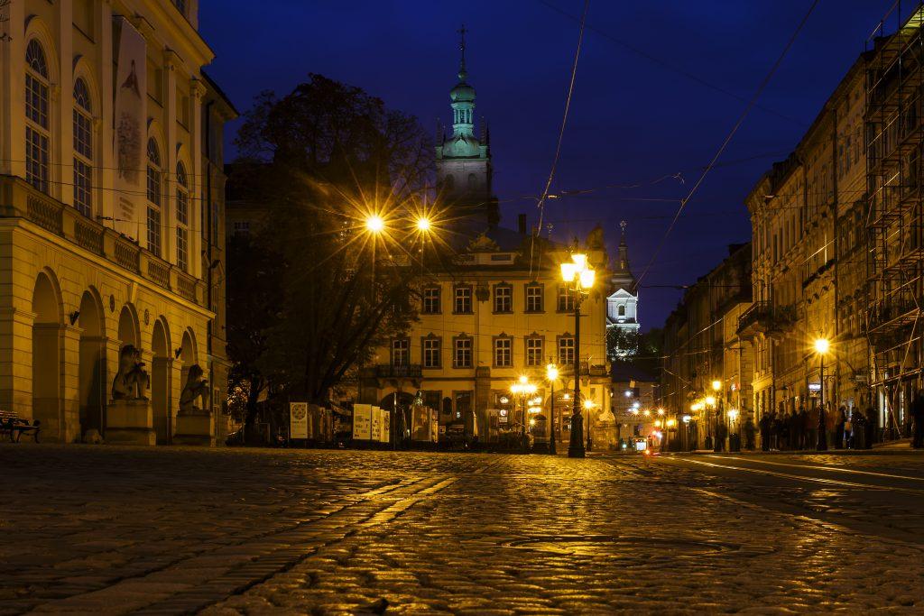 Стоковое фото ночного Львова