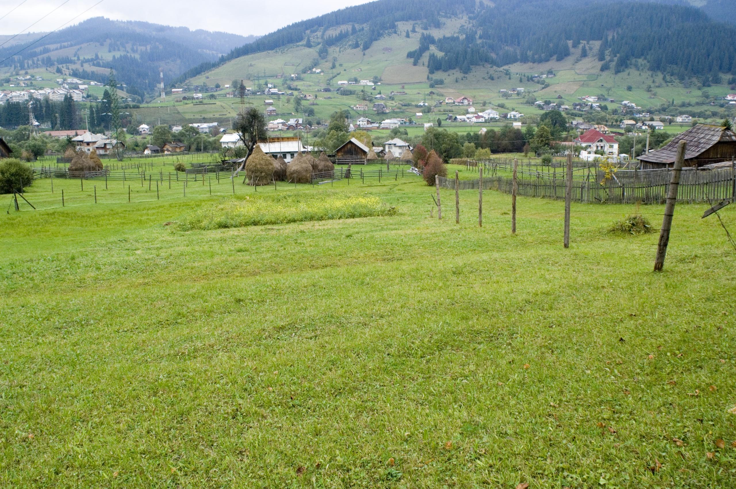 Сельский пейзаж в Румынии: поля и горы