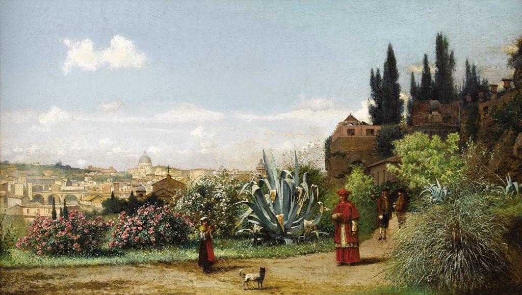 Картина Нерли Фредерико - Римский пейзаж с девой и кардиналом, город Рим