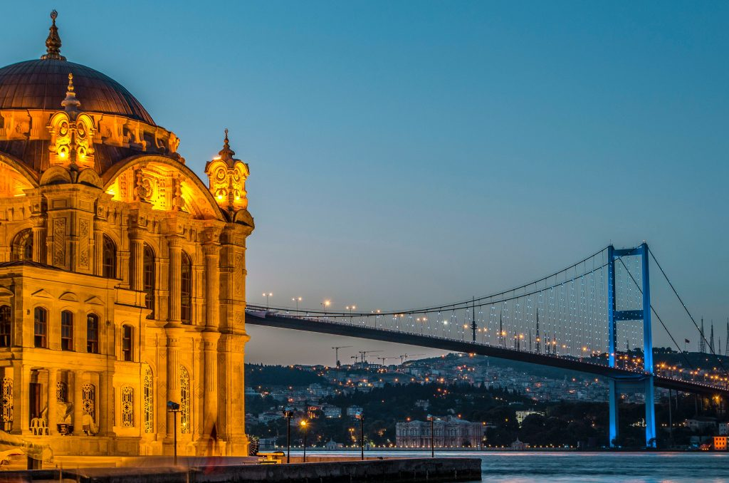 Мечеть Ортакей и вид на Босфорский мост