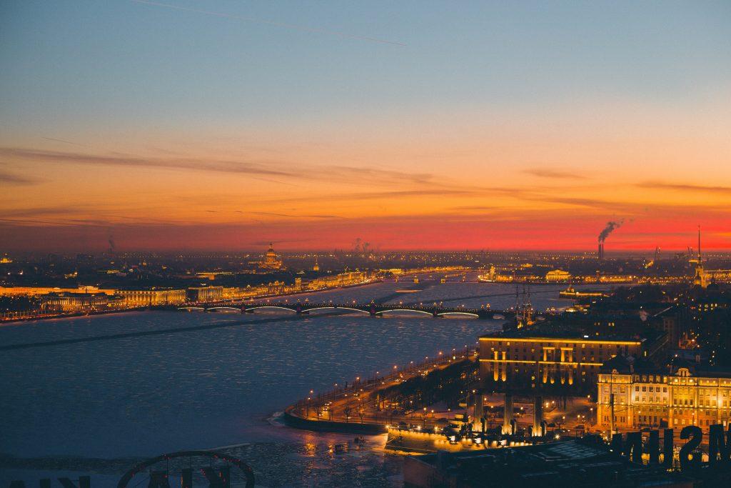 Панорама Санкт-Петербурга на закате