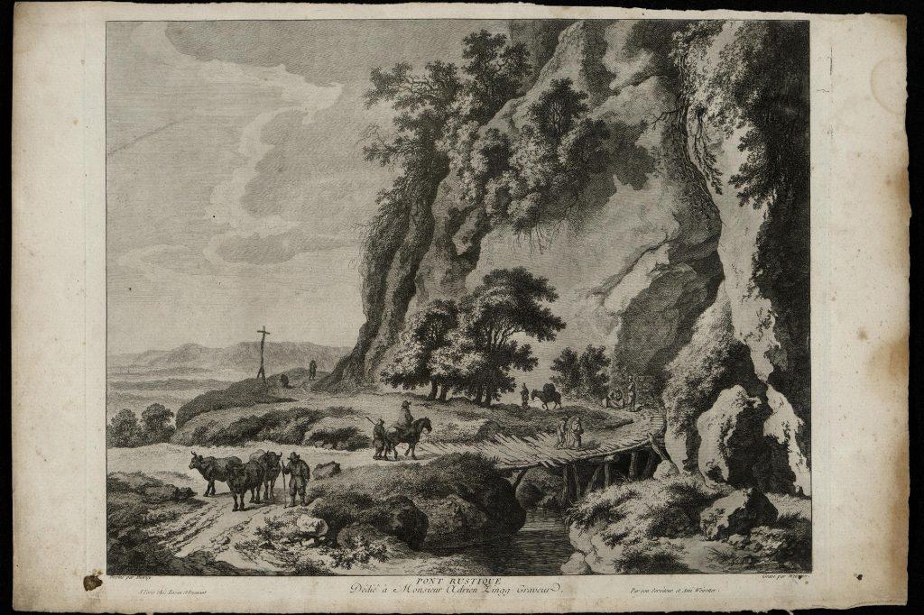 Вейроттер - Пейзаж со скалой, гравюра, Западная Европа