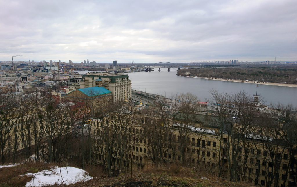 Район Подол и Почтовая площадь в Киеве зимой
