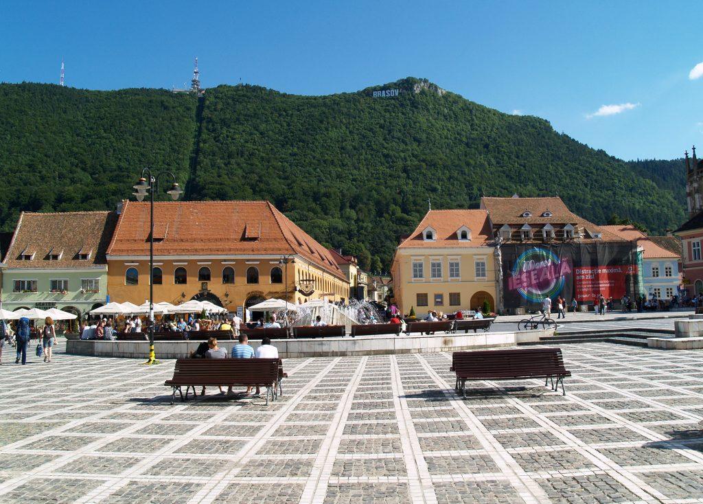 Центральная площадь города Брашов, Румыния, Трансильвания