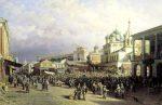 Петр Верещагин - картина 19 века город Нижний Новгород - рынок