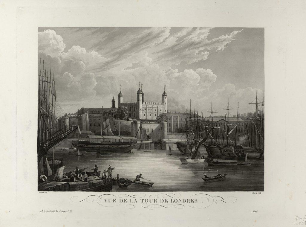 Лондон гравюра крепости Тауэр