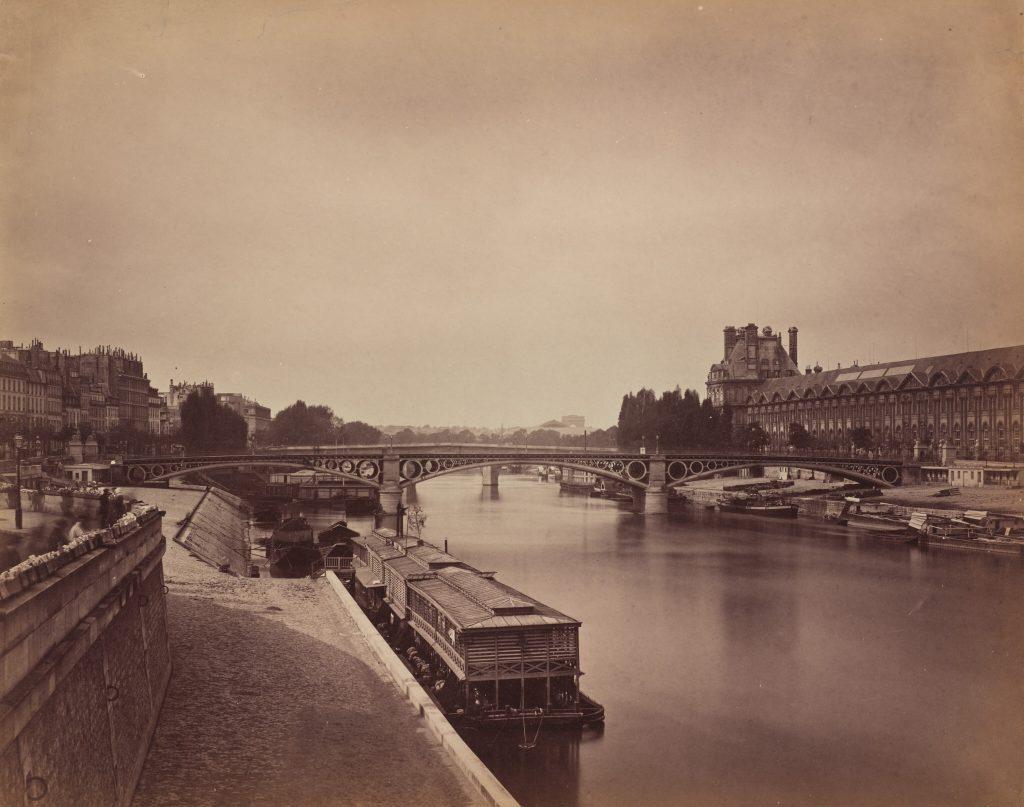 Ретро фото Парижа 19 века - мост Каррузель, река Сена, Париж