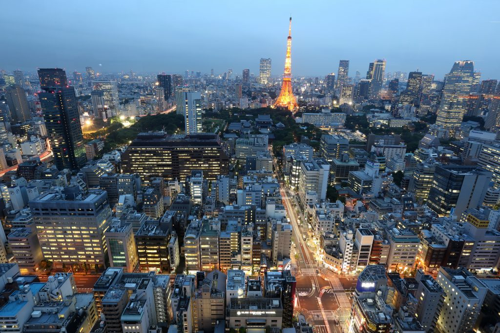 Ночной город Токио фото панорама