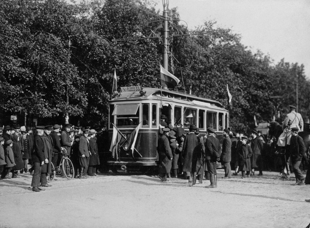 Трамвай старое ретро фото - Открытие трамвайной линии в Петербурге