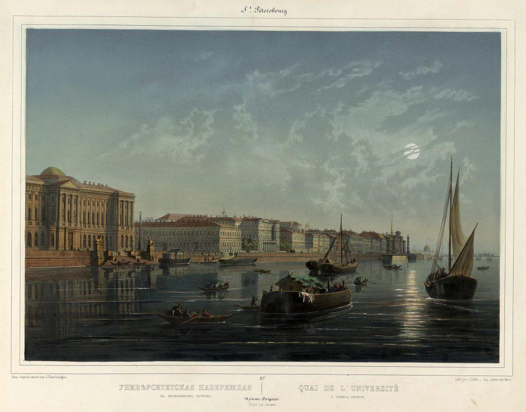 Университетская набережная Петербурга в 19 веке