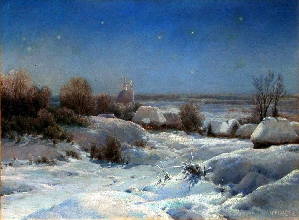 Иван Вельц - картина Украинская ночь, зима. Украина