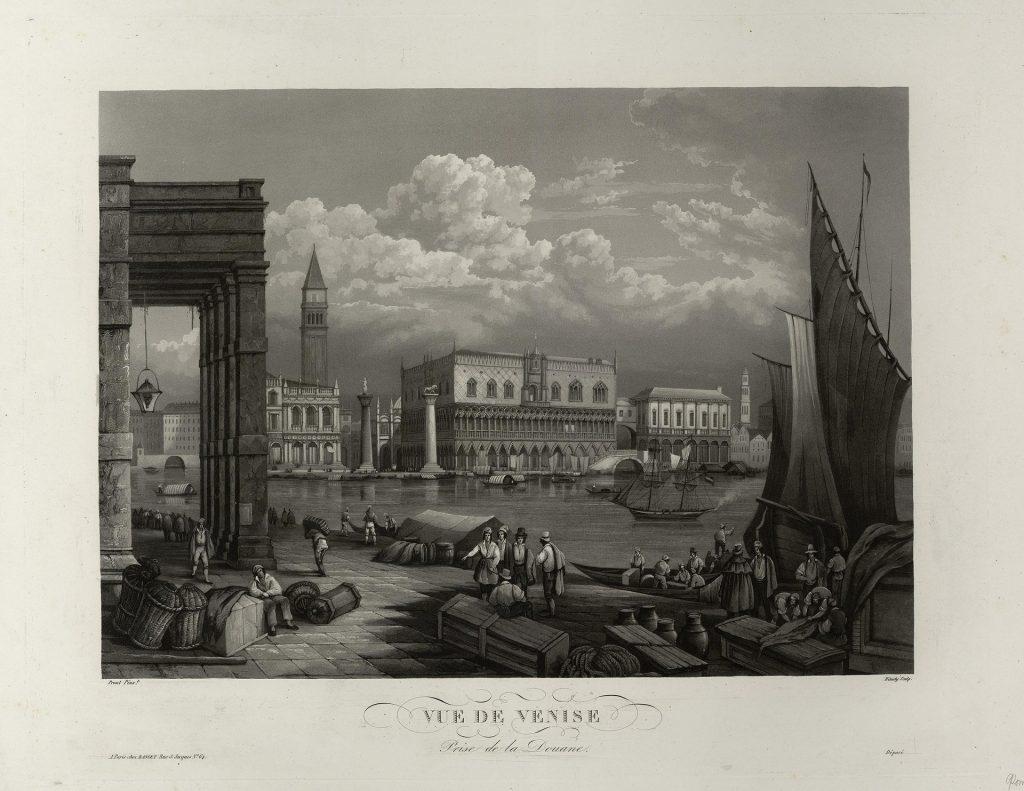 Старая гравюра Венеции, вид со стороны таможни