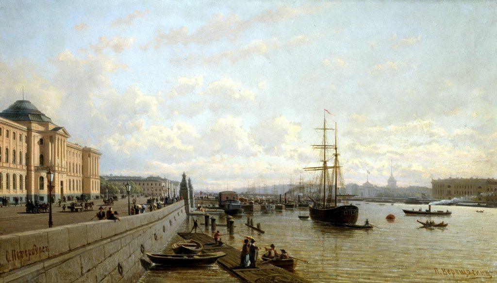 Петр Верещагин - картина Набережная Невы. Санкт-Петербург во второй половине 19 века