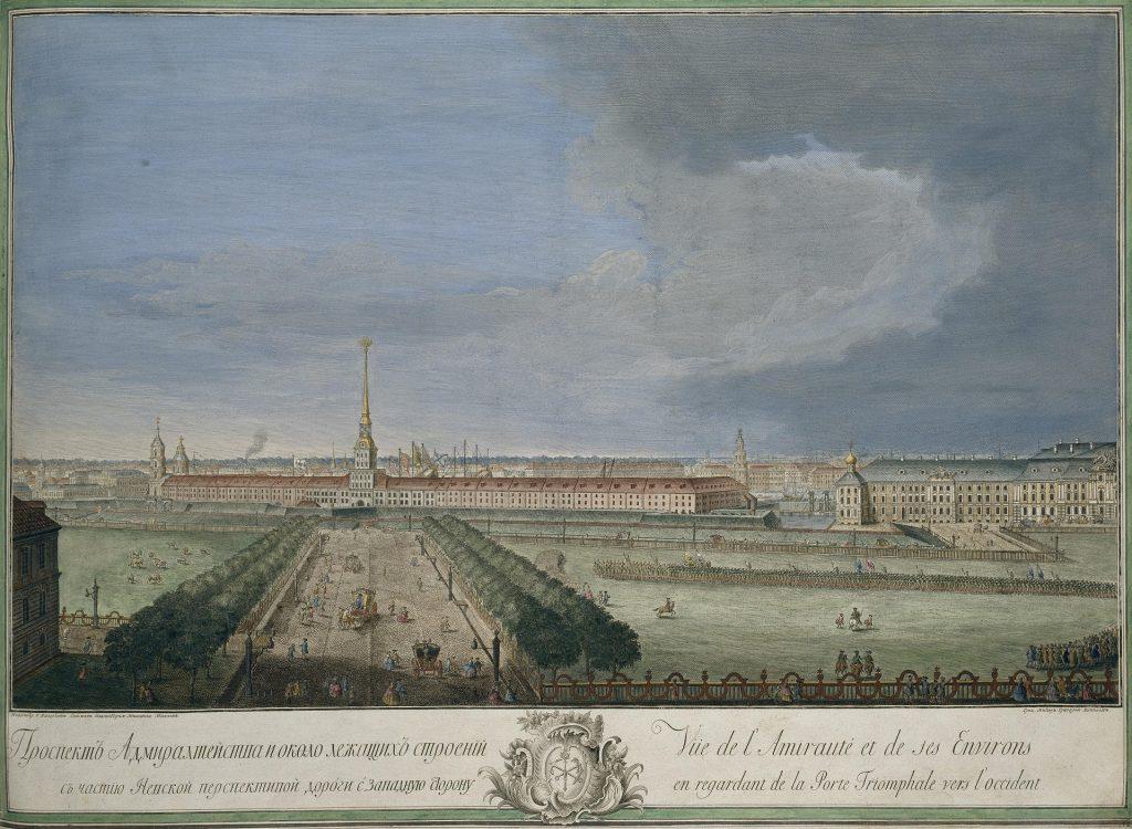 Гравюра Адмиралтейства, Санкт-Петербург, 18 век